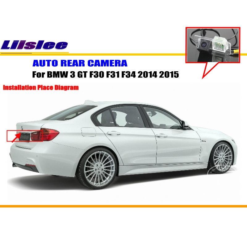 Cámara de Vista trasera de estacionamiento para coche Liislee para BMW 3 GT F30 F31 F34 2014 2015/cámara de marcha atrás/NTST PAL/cámara de luz de matrícula