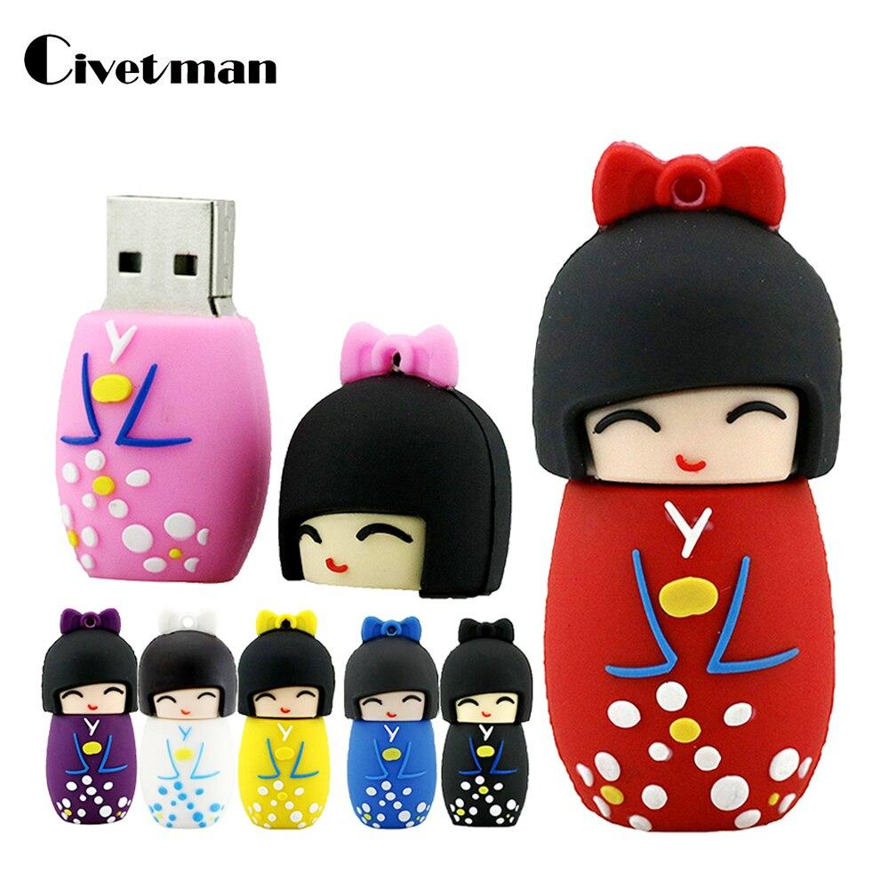 Мультяшный USB флэш-накопитель кимоно девушка японские куклы флэш-накопитель 8 ГБ 16 ГБ 32 ГБ 64 Гб 128 ГБ 256 ГБ USB 2,0 флэш-карта памяти флешка
