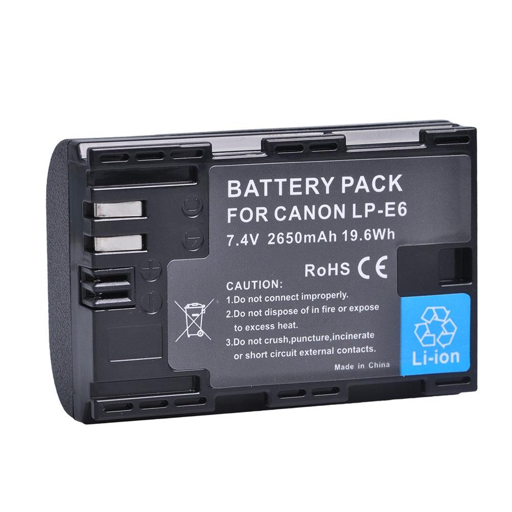 1Pc 2650mAh bateria LP-E6 LPE6 LP E6 E6N batería para Canon EOS...