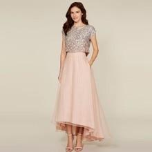 2017 New Blush Pink High Low Long Skirts Womens A Line Organza Maxi Skirt Custom Made Cheap Bridesmaid Skirt for Wedding Party