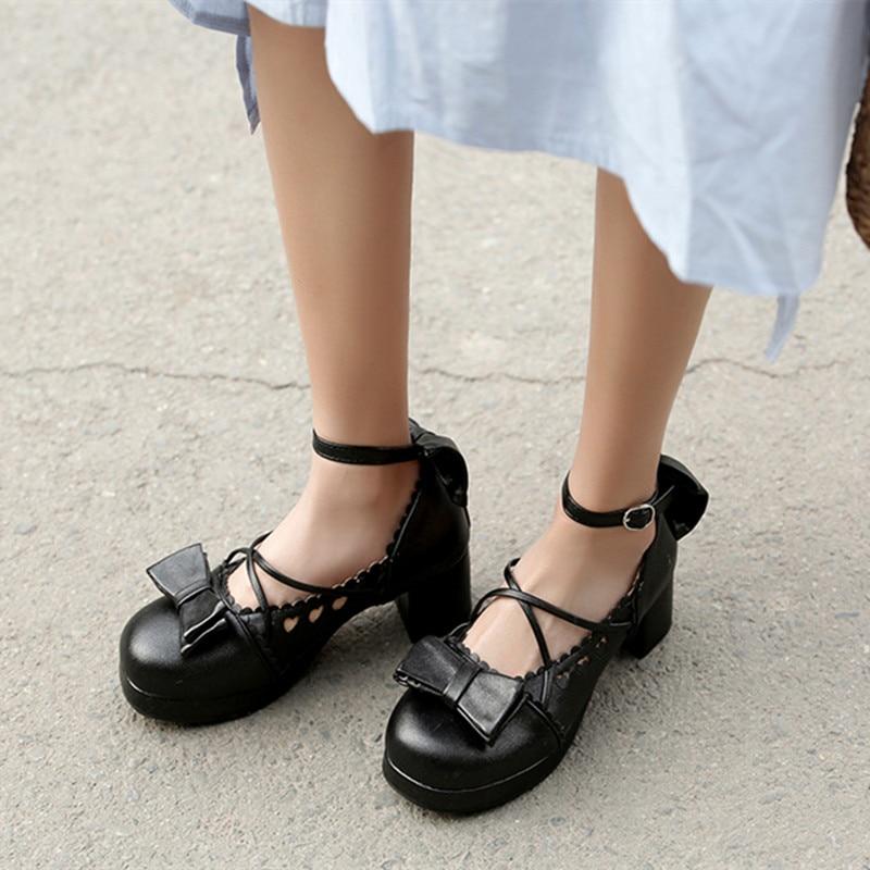 Primavera lolita zapatos 2020 Harajuku kawaii de verano estilo coreano moda amigos dulce arco hueco amor cosplay mujeres zapatos