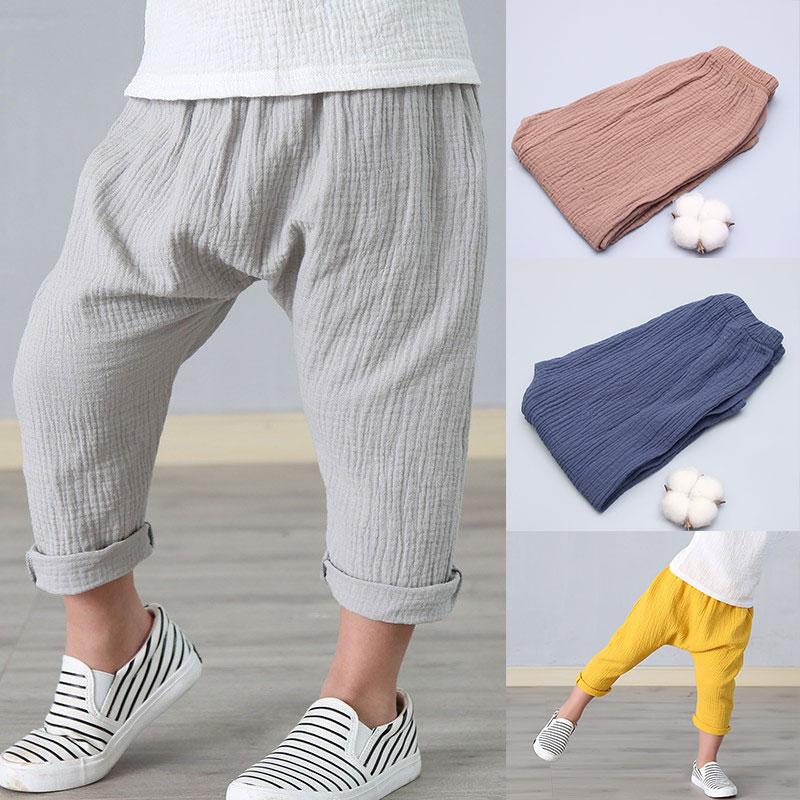 New 2-7y 2018 Summer Solid Color Linen Pleated Children Ankle-length Pants for Baby Boys Pants Harem