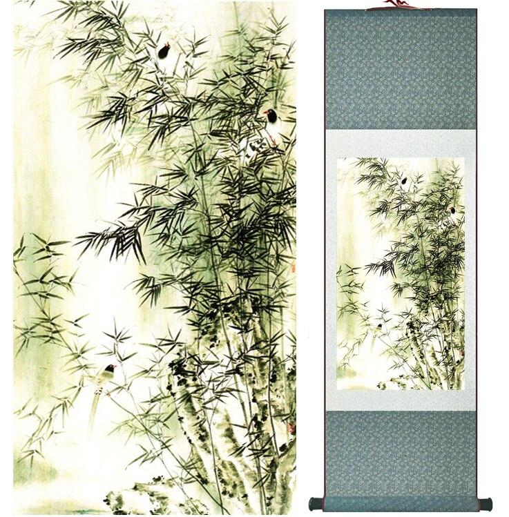 Pintura de bambú de personajes Chiense y pintura de flores decoración de la Oficina del hogar rollo chino painting041110