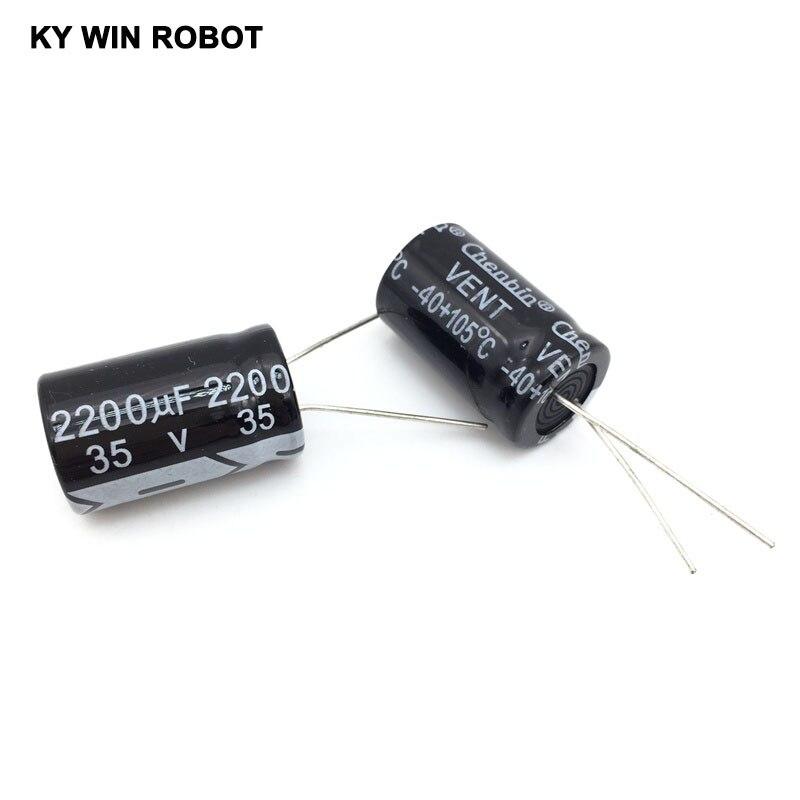5 unids/lote 35V 2200UF 13*25mm condensador electrolítico de aluminio