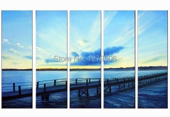 Ocean Blue Seascape Pinturas A Óleo Da Arte moderna Da Parede Na Lona Mão Paintied Home Decor Pictures Pintura de Paisagem Para a decoração da Casa Do Mar