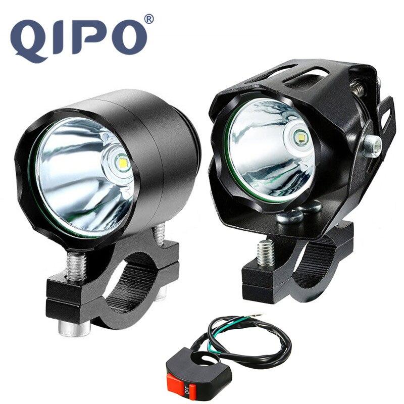 QIPO, faro delantero Universal LED para motocicleta, Bombilla antiniebla de aleación de aluminio, lámpara T6 de 10W y 6000LM apta para Honda