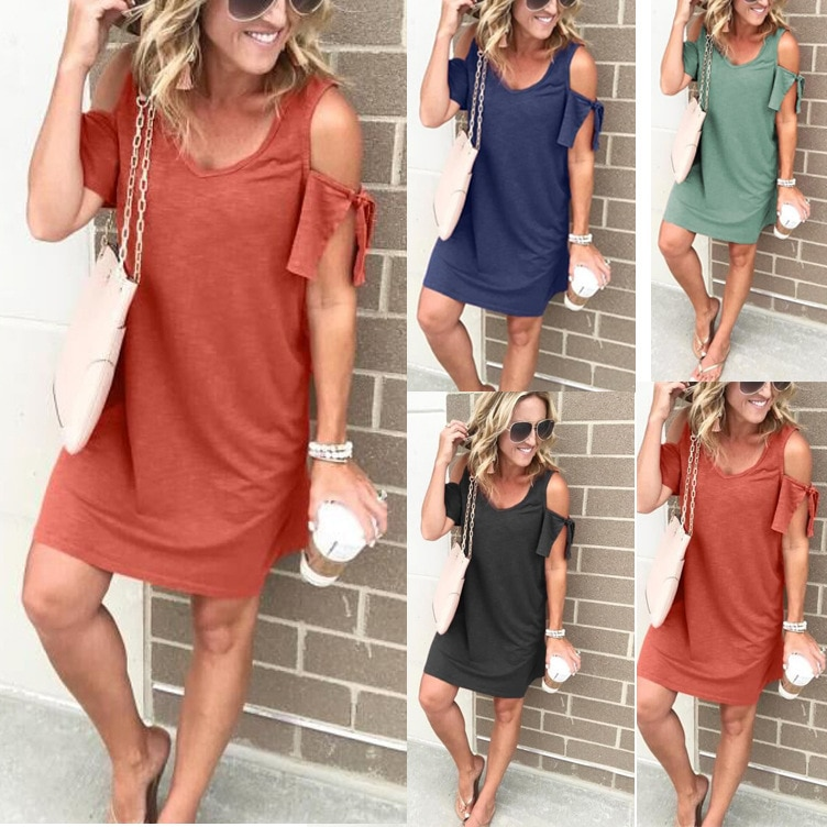 Style women short sleeve womens dress new cold shoulder v-neck solid clothing new female mini dress