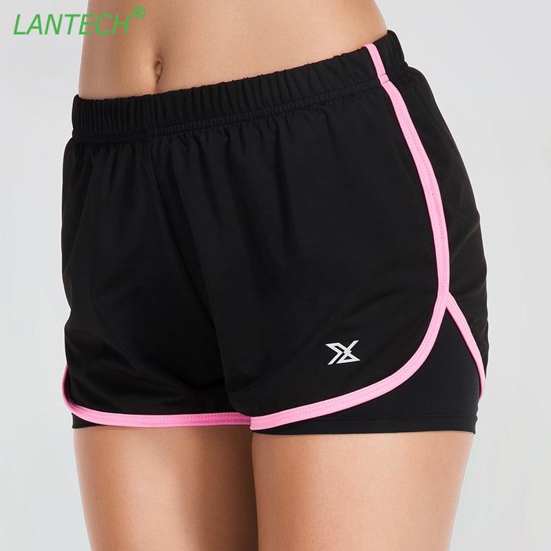 Pantalones cortos de compresión LANTECH para mujer, pantalones cortos de dos piezas para jogging Fitness, culturismo, pantalones cortos transpirables de secado rápido