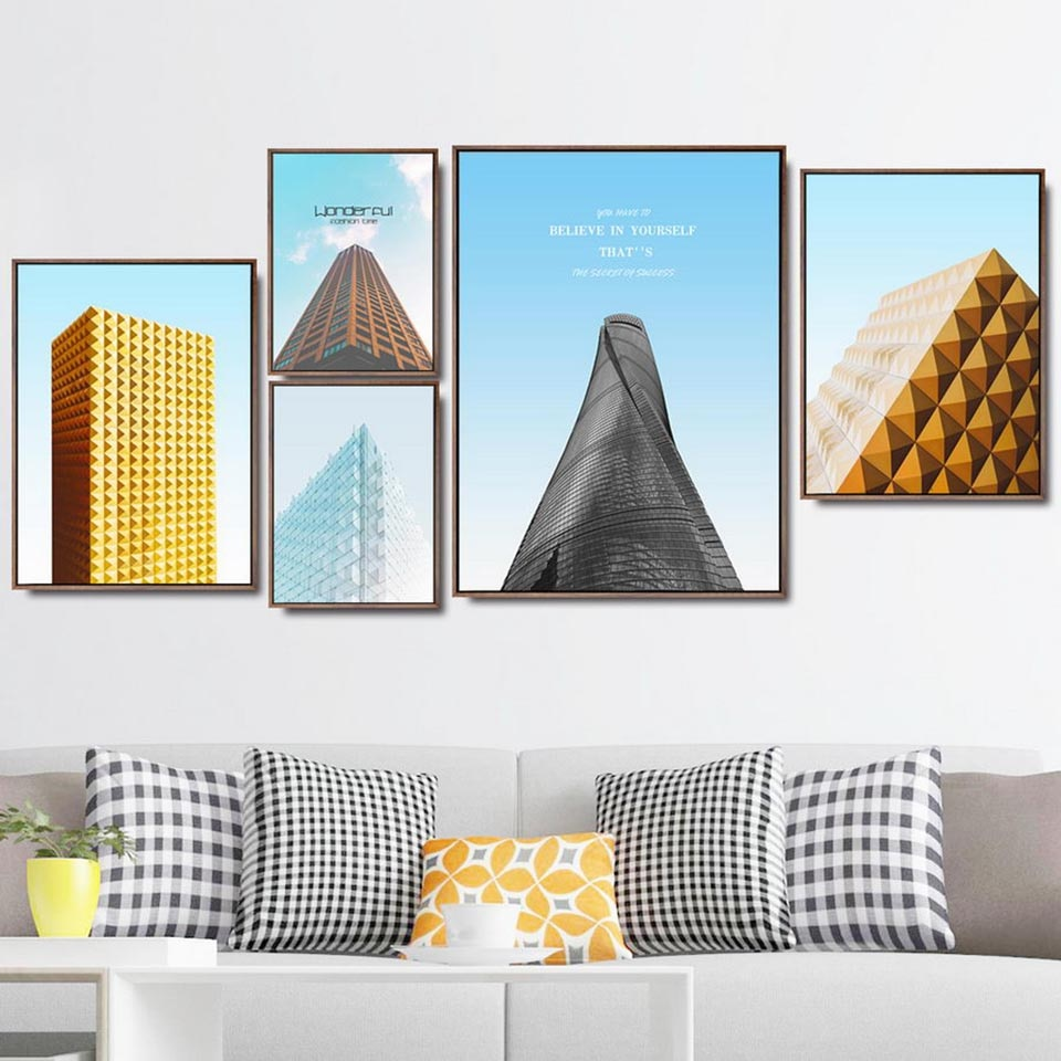 Arte de la pared decoración del hogar abstracto alto edificio despertador geométrico cartel impreso Modular imágenes Cabecera de fondo