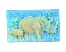 Rhinoceros-moule artisanal Silicone   S506, moule à savon 3D, moules artisanaux, bricolage, moules à bougies faits main