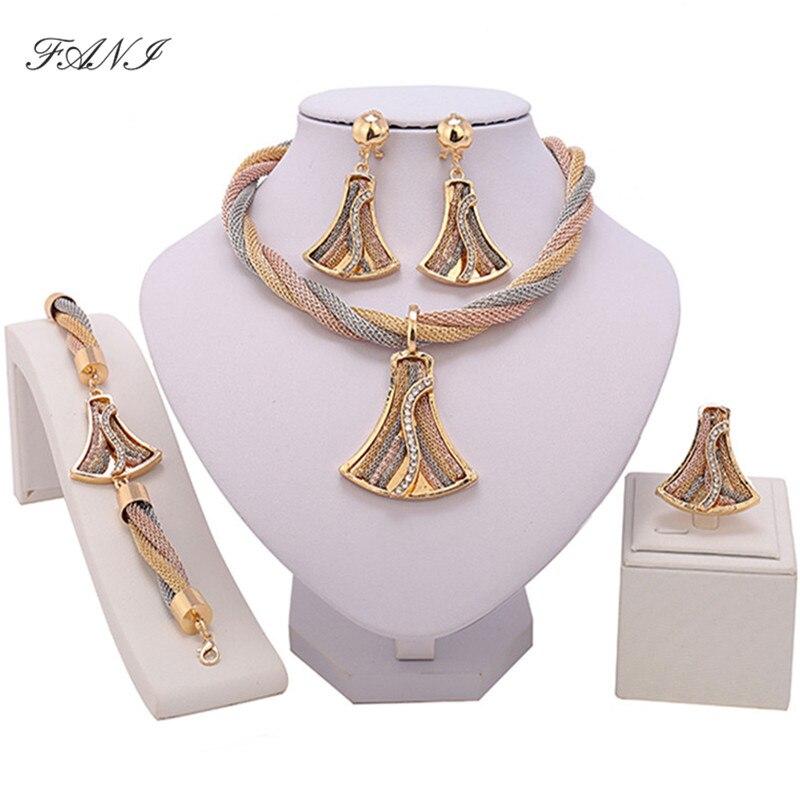Fani Exquisite Dubai gold Schmuck Set Großhandel Luxus Nigerian Frau Hochzeit Mode Afrikanische Perlen Schmuck Set Kostüm Design