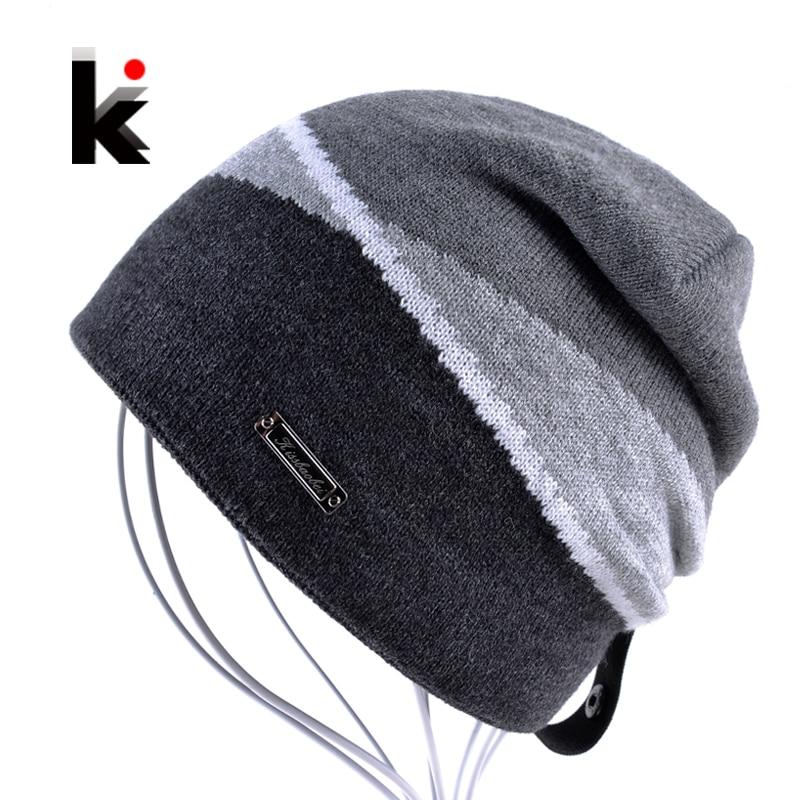 шапка мужская зимняя шапка бини бренд плюс бархатная хип-хоп шапка вязанные шапки бини для мужчин шапка вязаная тюбитейка для мужчин