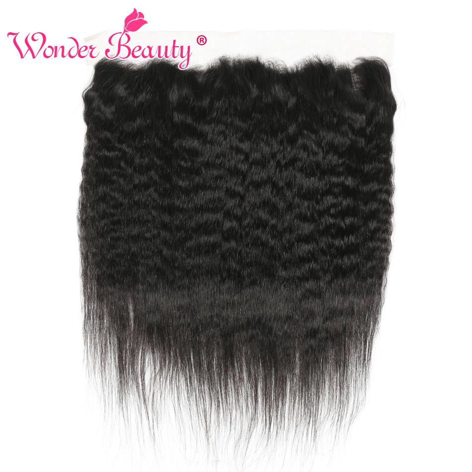 Wonder Beauty Hair Brazilian Kinky Straight lace frontal closure 100% human hair Non Remy Ear to Ear frontal yaki Free ship