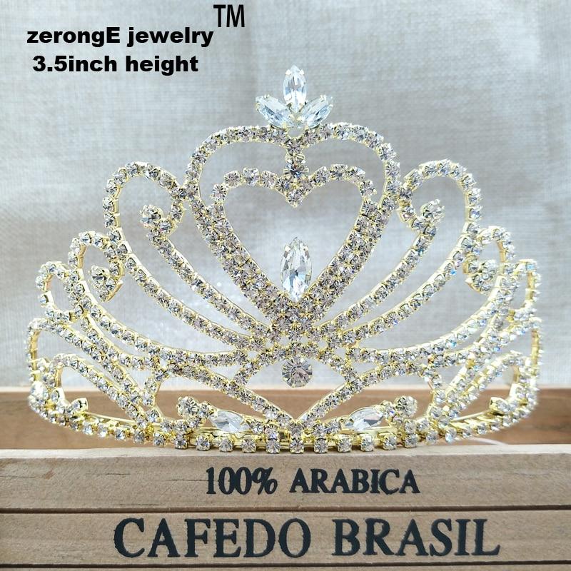 Joyería zerongE de 3,5 pulgadas, Corazón dorado para desfile, tiara nupcial para boda, joyería para el cabello de diamantes de imitación, diadema decorativa para fiestas, tiara