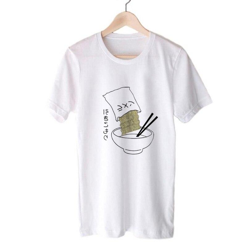 Ramen, camiseta para Mujer, moda japonesa, camiseta de fideos, verano, cuello redondo, manga corta, ropa coreana, Camisas para Mujer, camisetas de talla grande