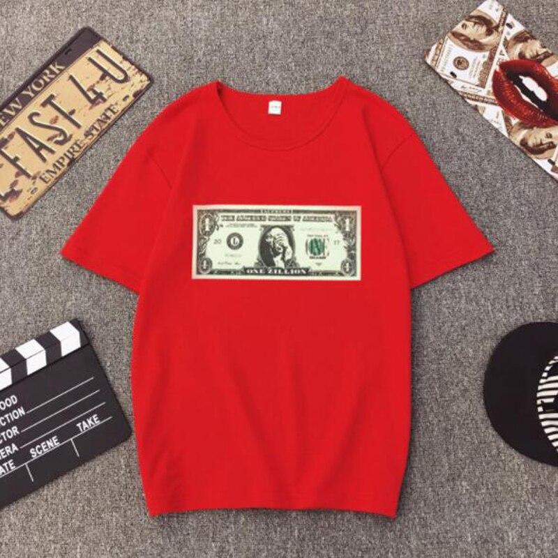 Novedad de verano primavera camiseta mujer US estampado de dólares manga corta cuello redondo algodón Spandex mujeres Tops Casual suelta camiseta Mujer