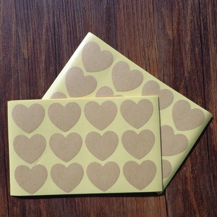 120 Pcs Papel Kraft tag Em Branco Do Amor Do Coração Forma de Bolo Feito À Mão Etiqueta De Selagem De Embalagens Kraft Adesivo Cozimento DIY Etiquetas Do Presente