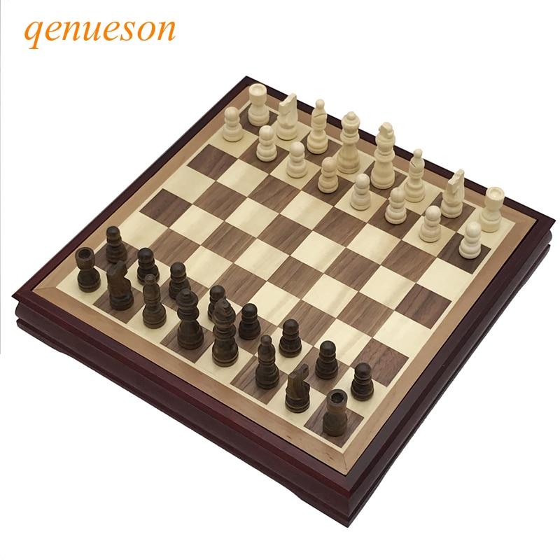 Qenueson деревянная шахматная игра 28*28 см
