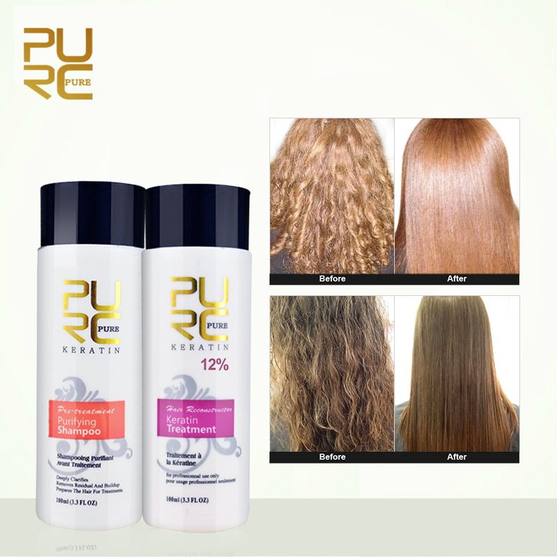 PURC 12% Formalin Keratin Hair Treatment and Purifying Shampoo Care Products Set Brazilian Free Shipping
