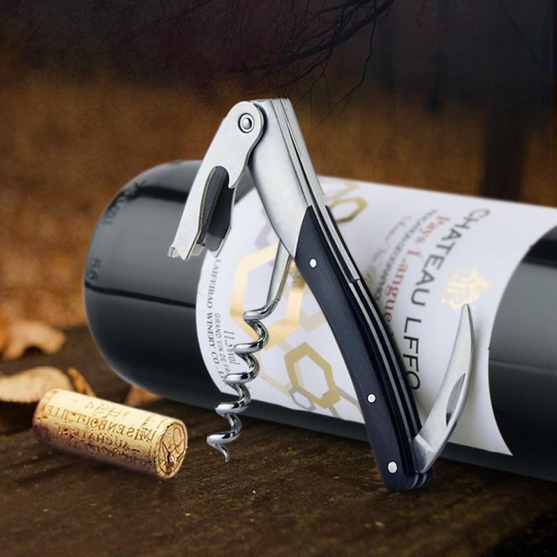 1pcs Portable Wine Opener Stainless Steel Wine Beer Bottle Can Openers Corkscrew Wood Handle Wine Acessories Bar Restaurant
