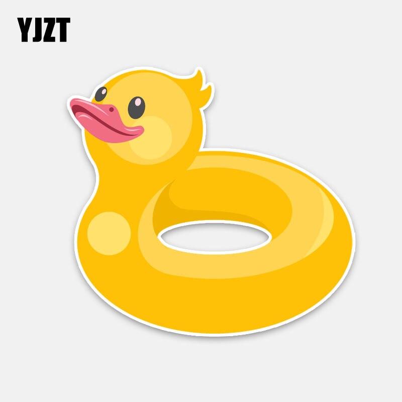 Yjzt 11.5*10.8 cm adorável pato natação círculo decoração adesivos de carro personalidade alta pualidade 11a0537