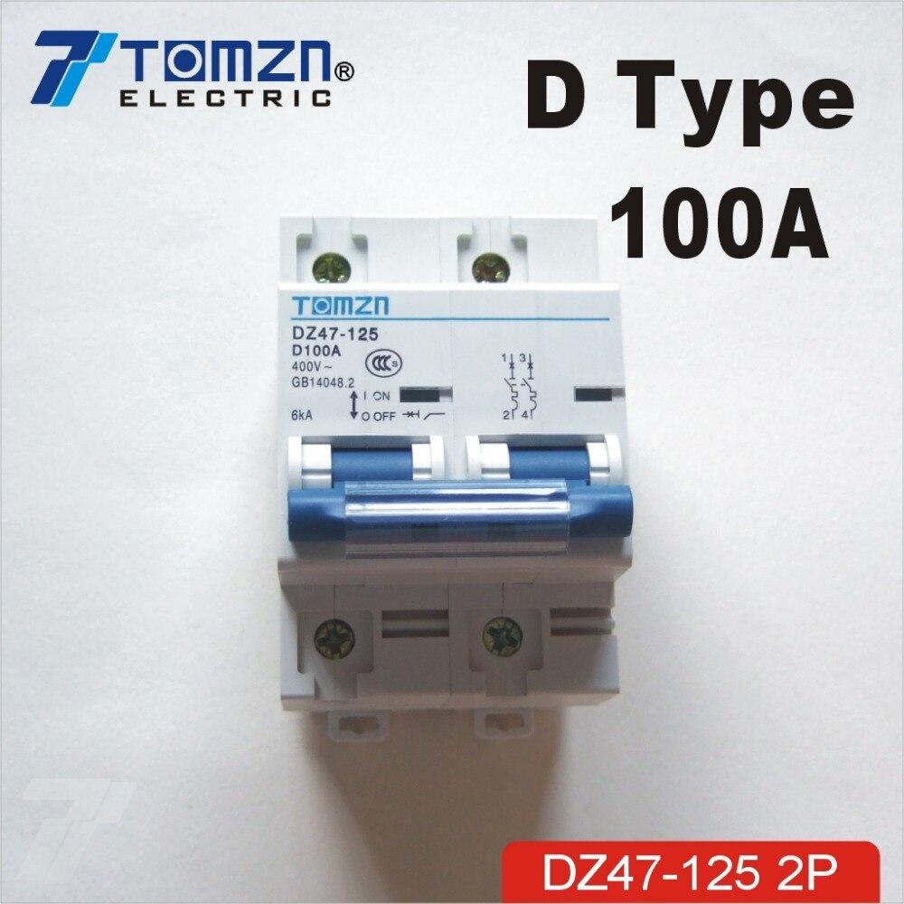 2P 100A 240V/415V 50HZ/60HZ Circuit breaker MCB