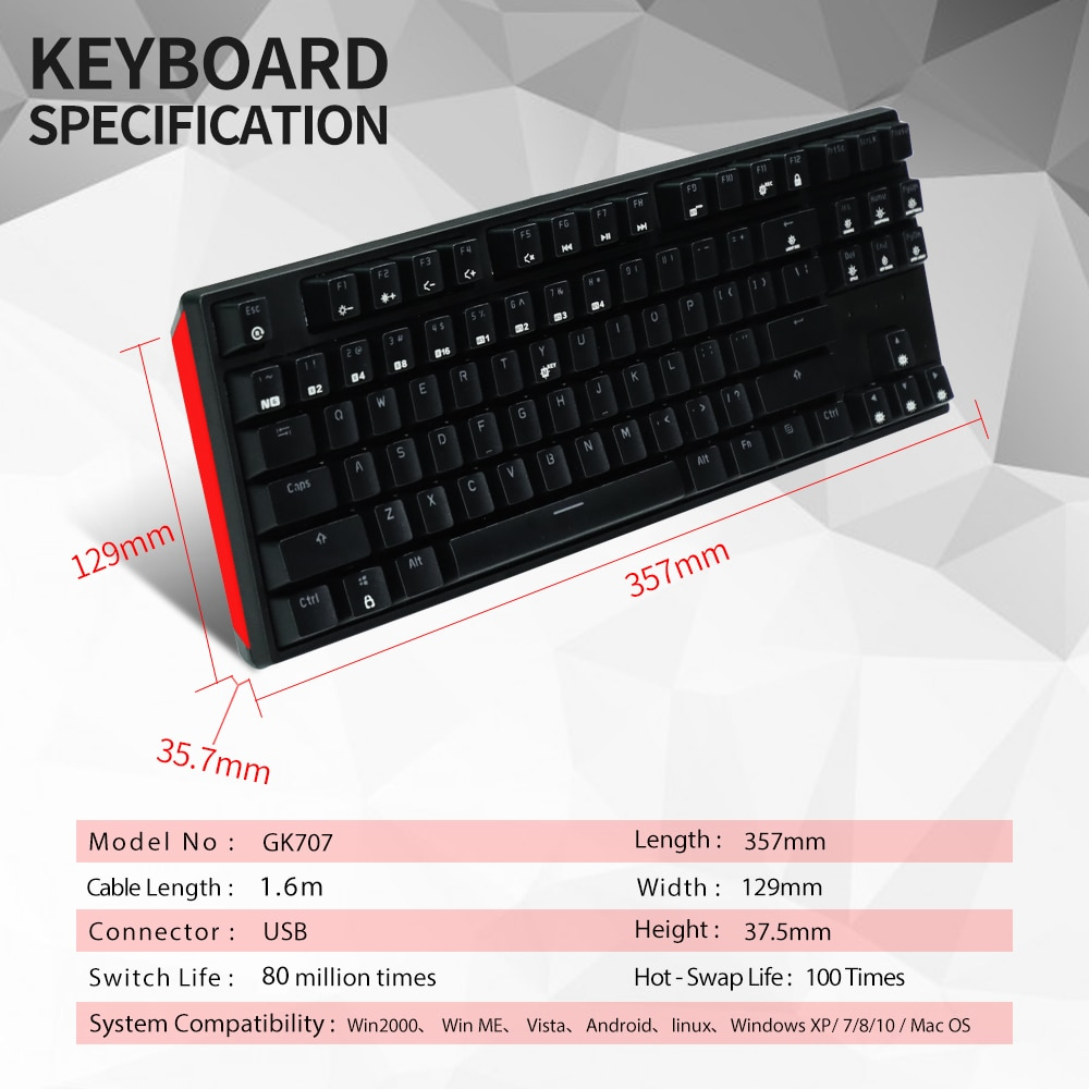 HEXGEARS GK707 87 Key Gamer Mechanical Keyboard Kailh BOX Switch Hot Swap Anti Ghosting White LOL Gaming Keyboard For PC/Mac/Lap