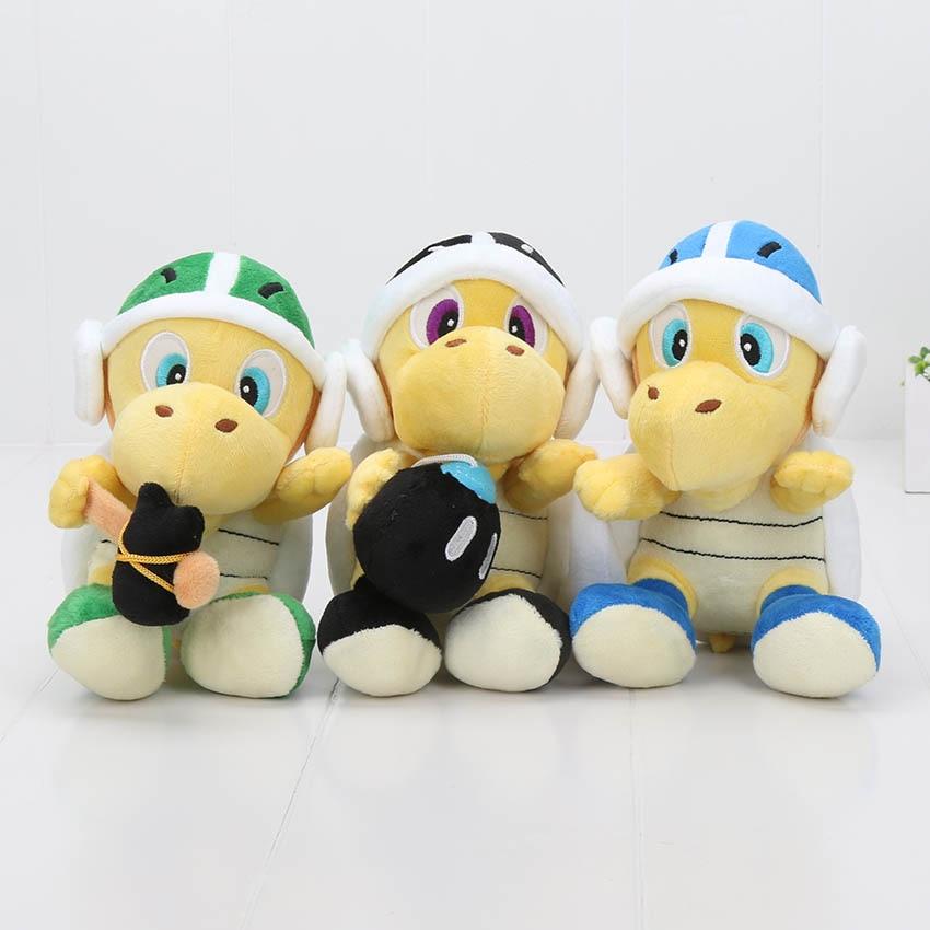 Peluches de felpa Super Mario 7 18 cm Peluche de Koopa juguetes bomba martillo bumerán peluches suaves muñecos juguetes niños