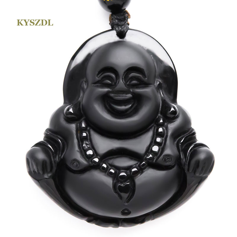 KYSZDL NEW Natural Obsidian necklace Fashion black smile Maitreya Buddha pendant For women men Vintage Free roppe