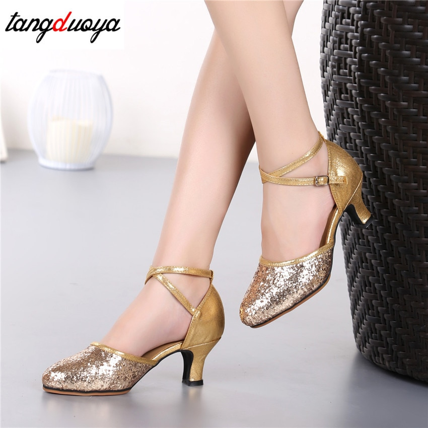 Zapatos de baile latino para mujer con brillo de tacón alto dorado, zapatos de baile latino para salón de baile, Tango, salsa, zapatos de baile latino para mujer 2020