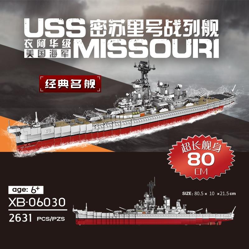 XINGBAO 06030 MOC Lepining WW2 Military The Missouri Battleship Set Model Kit Building Blocks Bricks Kids Educational Toys Gifts