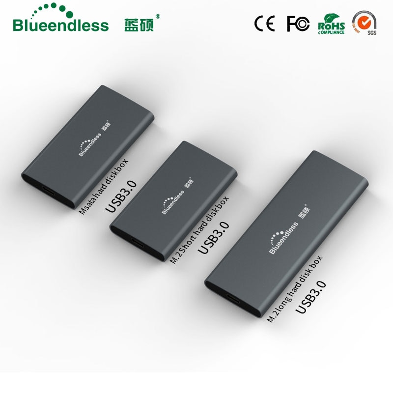 New Product Aluminum m.2 Ssd Case Portable Hard Disk Msata to Usb Type c Msata Case 2242/2260/2280 Hard Drive Msata Enclosure