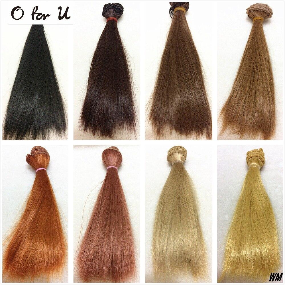 O para u 20 pçs/lote atacado frete grátis 15/25 cm diy artesanal boneca reta peruca de cabelo preto marrom loiro 1/3 1/4 bjd bonecas perucas