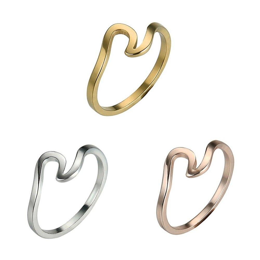 Anillos Unisex chapados en plata y oro rosa para mujer, anillo Simple de Metal para surfista Midi, anillos de Surf, anillo de alambre de océano