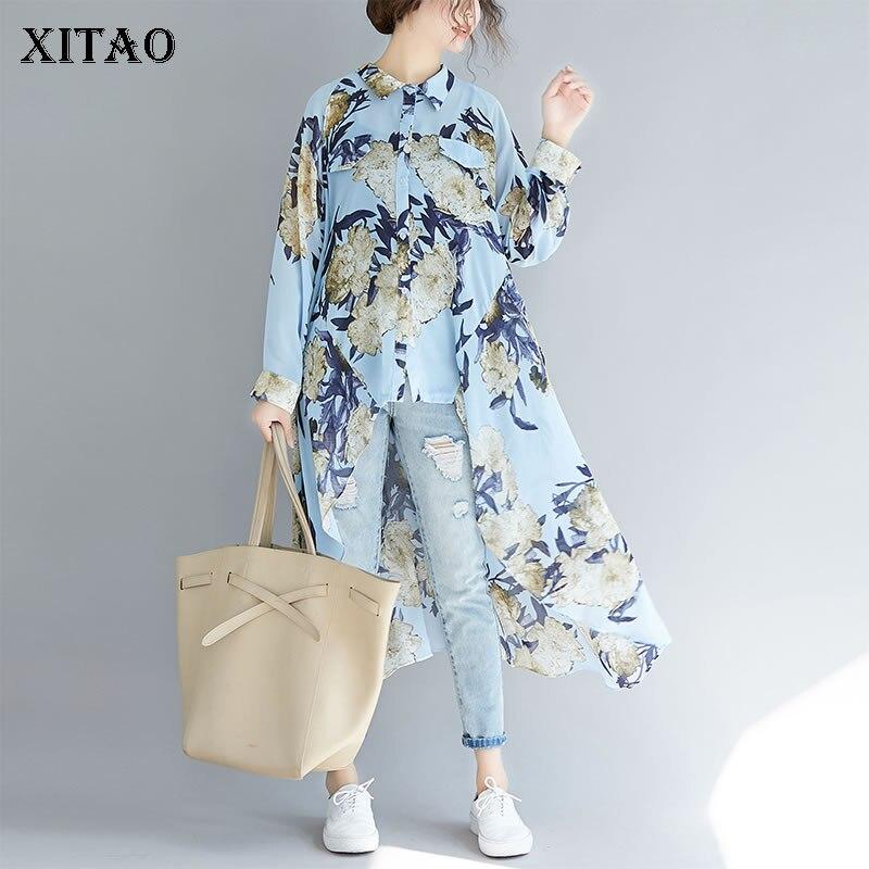 Рубашка XITAO Женская, с принтом и отложным воротником