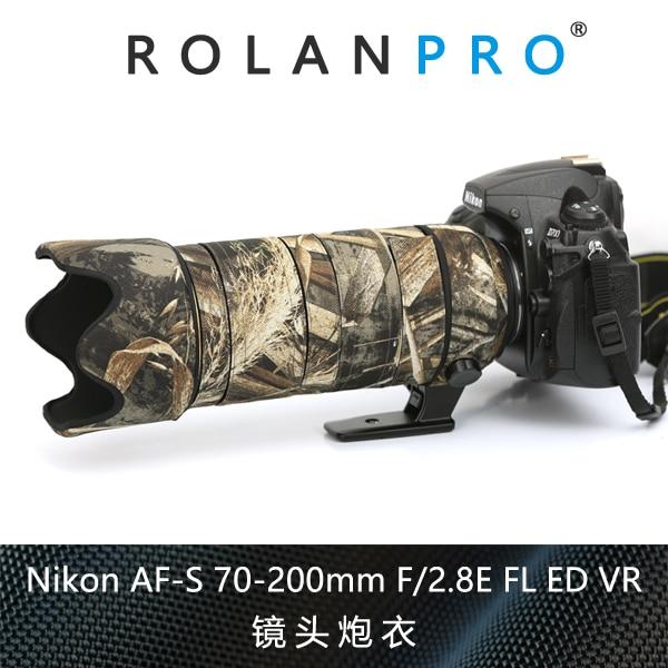 ROLANPRO Waterdichte Lens Camouflage Jas Regenhoes voor Nikkor Nikon AF-S 70-200mm f/2.8E FL ED VR lens Beschermhoes