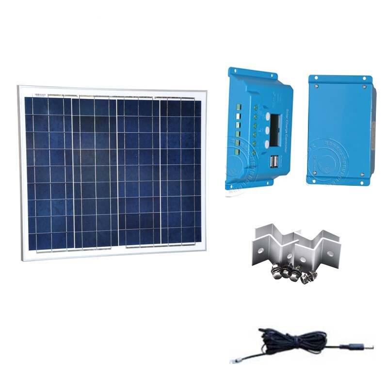 Panel Solar 18v 50W 12v Chargeur Solaire Smartphone controlador de carga Solar 12 v/24 v 10A de batería Solar PWM Camping para coche y caravana