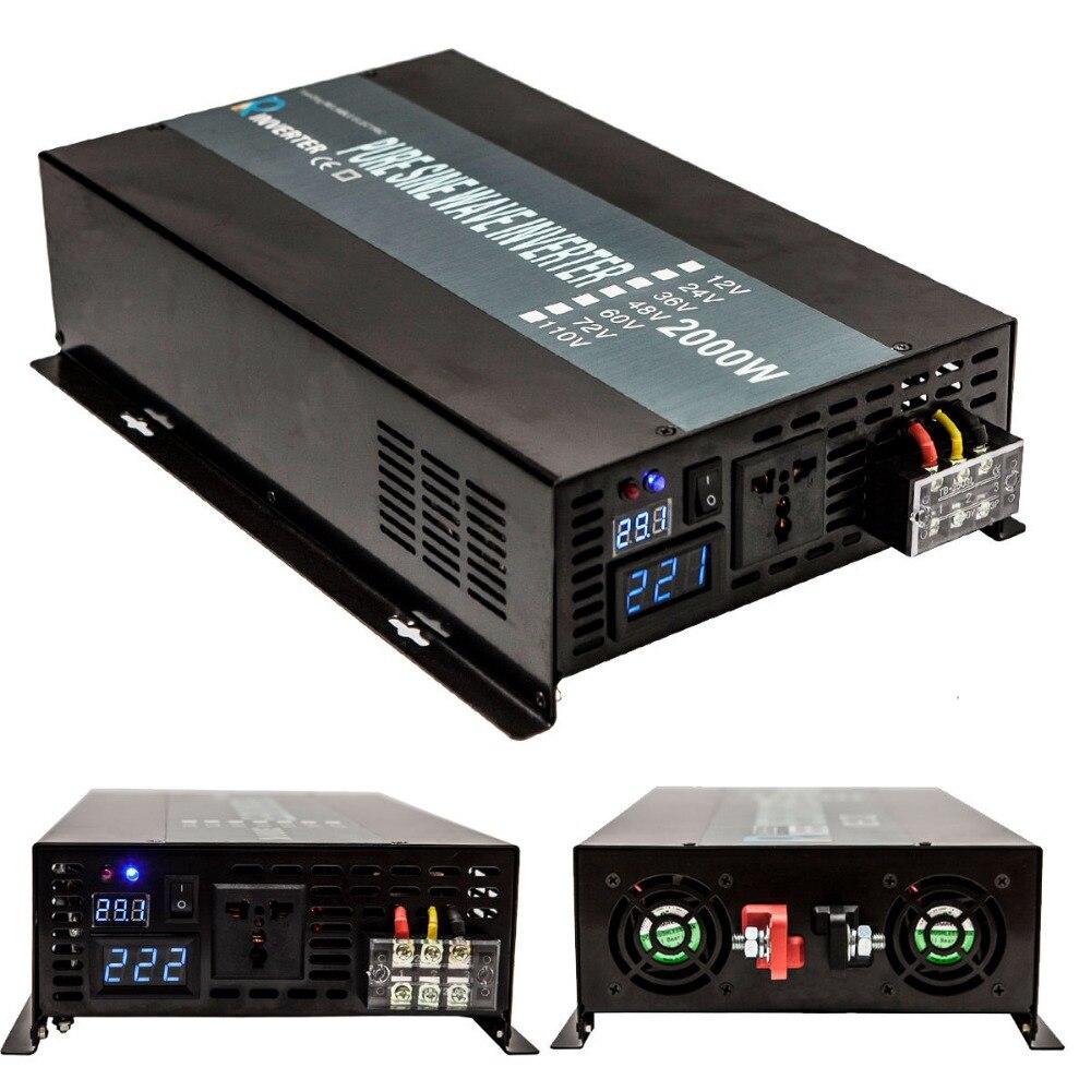 Off Grid Onda Senoidal Pura Inversor Solar 2000 w 12 v 24 v DC para 110 v 120 v 240 v AC Painel Solar Sistema de Banco de Transformadores de Potência Do Inversor