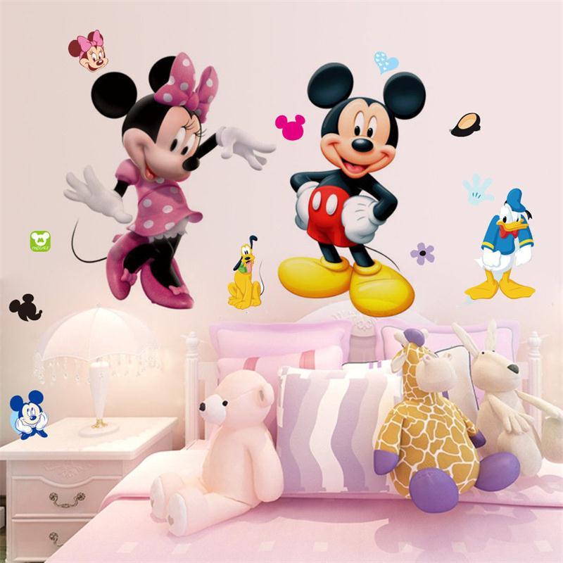Настенные наклейки с Микки Маусом, декоративные наклейки для детей, мальчиков и девочек, сделай сам, декор для спальни, художественная наклейка для дома, Настенные обои