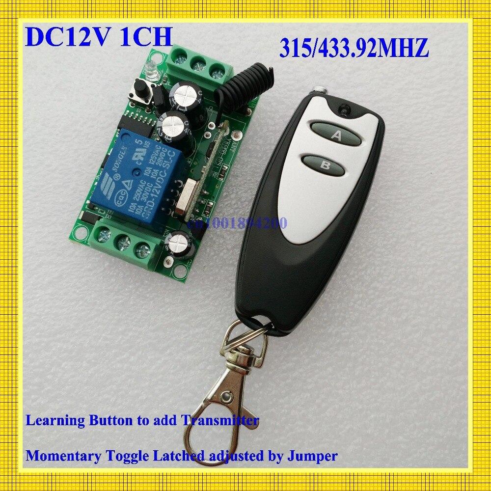Interruptor de Control remoto 12V DC 1CH 10A relé receptor Control de acceso de puerta lámpara de luz LED mando a distancia ON OFF interruptor inalámbrico AB