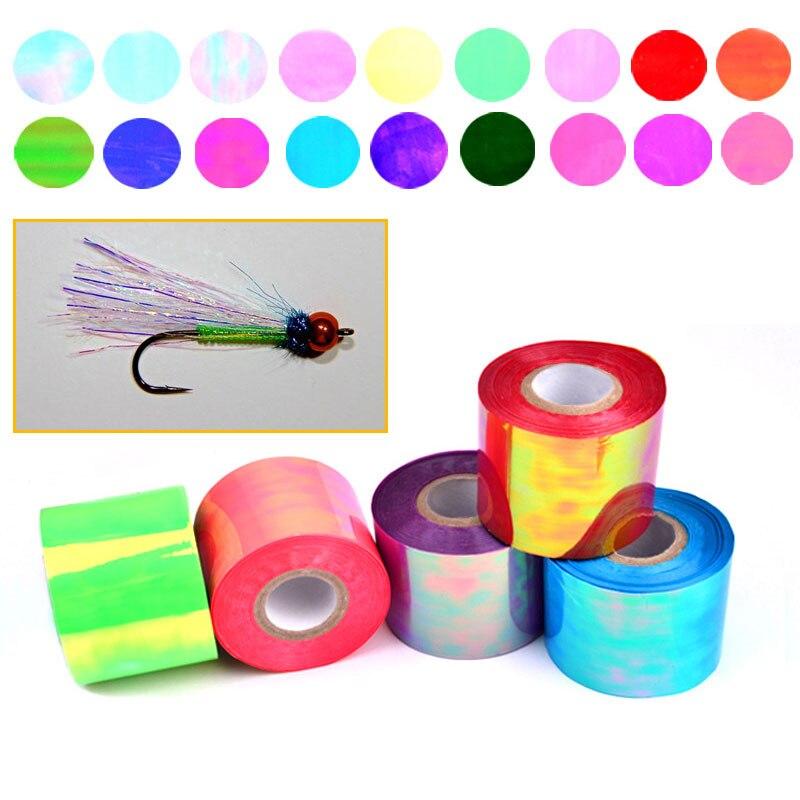 4,8 cm * 100 mt Mehrere Farbe Fliegenbinden Material Durchsichtigen Kunststoff Rainbow Flash Film/Perlglanz Blätter/Mirage blatt Sabiki Rig Lockt