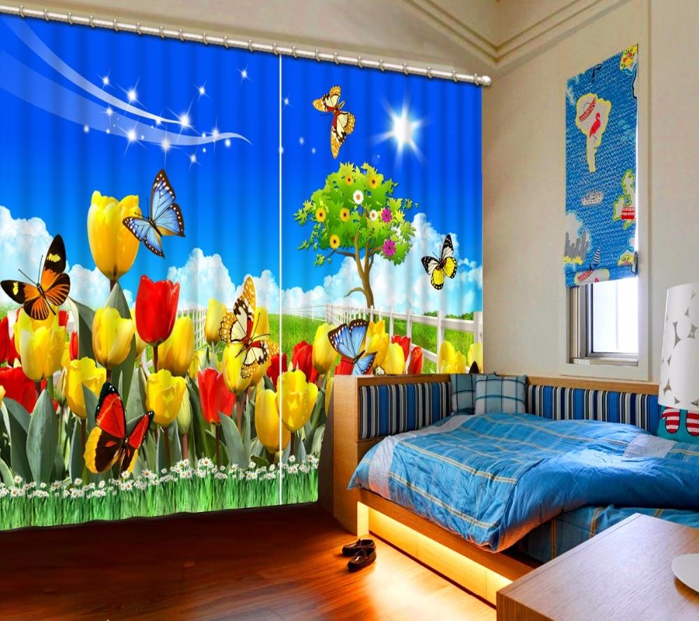 Cortina clásica para decoración del hogar 3D nueva personalizada hermosa flor amarilla roja mariposa cielo azul hierba verde cama sala de estar Oficina