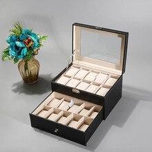 Hot selling luxury 20/24 grids PU Leather Watch Display Box Storage Holder Organizer Watch Case Jewelry Display Watch Box