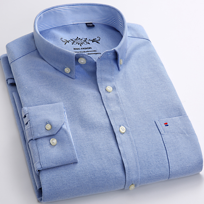 Men's Long Sleeve Oxford Plaid Striped Casual Shirt Front Patch Chest Pocket Regular-fit Button-down Collar Thick Work Shirts