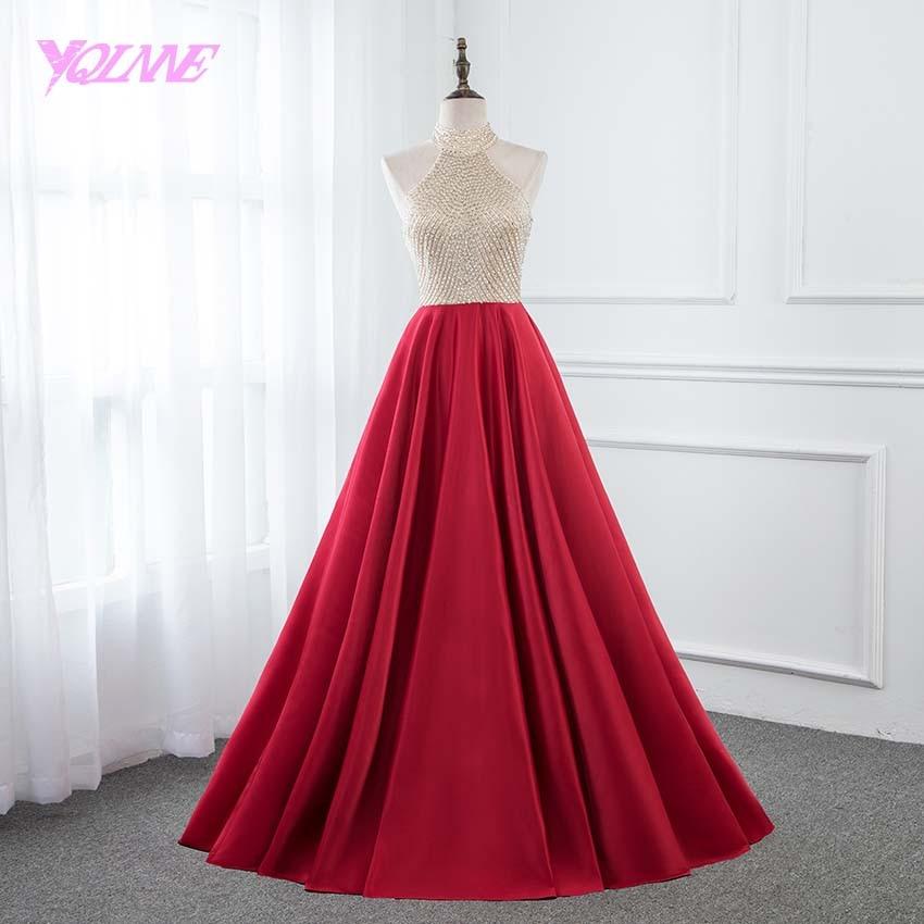 YQLNNE Красное длинное платье с лямкой на шее для выпускного вечера, атласное вечернее платье с кристаллами, вечернее платье без рукавов