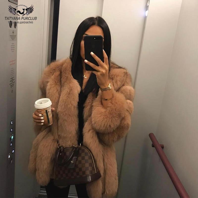 Tatyana Furclub Real de piel de abrigo Natural abrigo de piel de zorro para mujeres chaqueta de niña abrigo de invierno para chica rosa o-Cuello de manga larga estilo de la calle