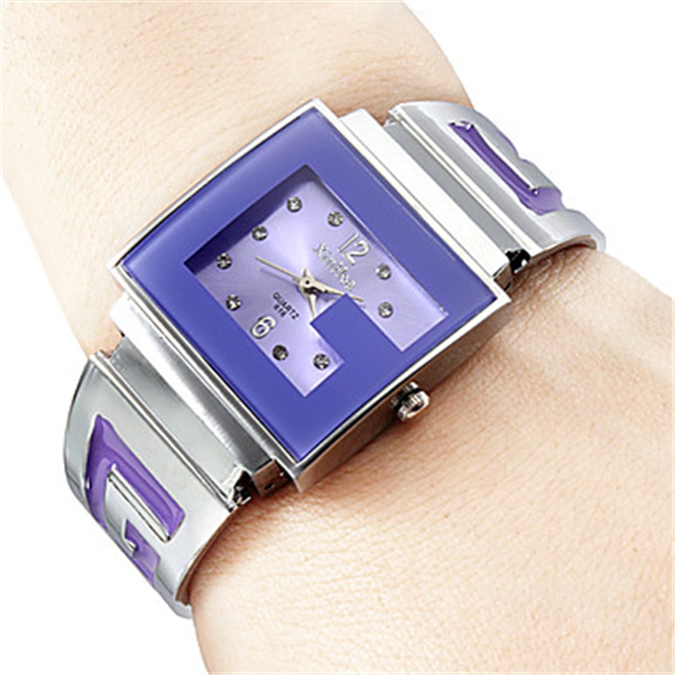 女性の女性の腕時計日本クォーツ時間時計ファインファッションブランド Xirhua ドレスブレスレットフルスチールシンプルな正方形女の子の誕生日ギフト