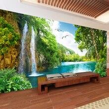 Papel pintado de pared 3D personalizado decoración del hogar cascada de Montaña Verde naturaleza paisaje 3D foto pared papel para sala de estar dormitorio