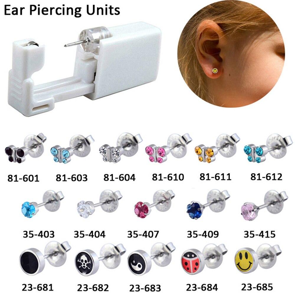 Unidades de pistola de Piercing de oreja desechables, pendientes de cristal de zirconio cúbico cuadrado, regalos para bebés, joyería corporal sin infección cruzada 1 unidad