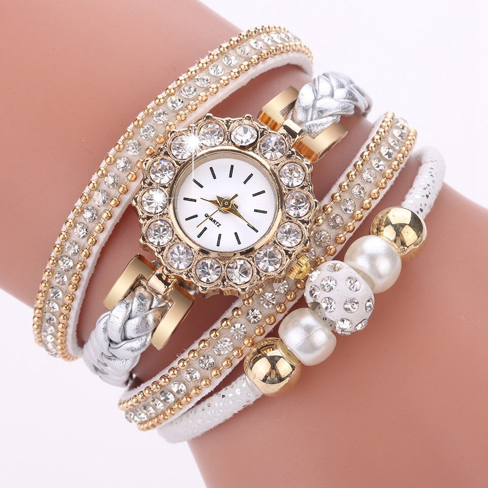 Lujoso reloj de cuero dorado con perlas para mujer, creativo reloj de pulsera informal para mujer, reloj femenino